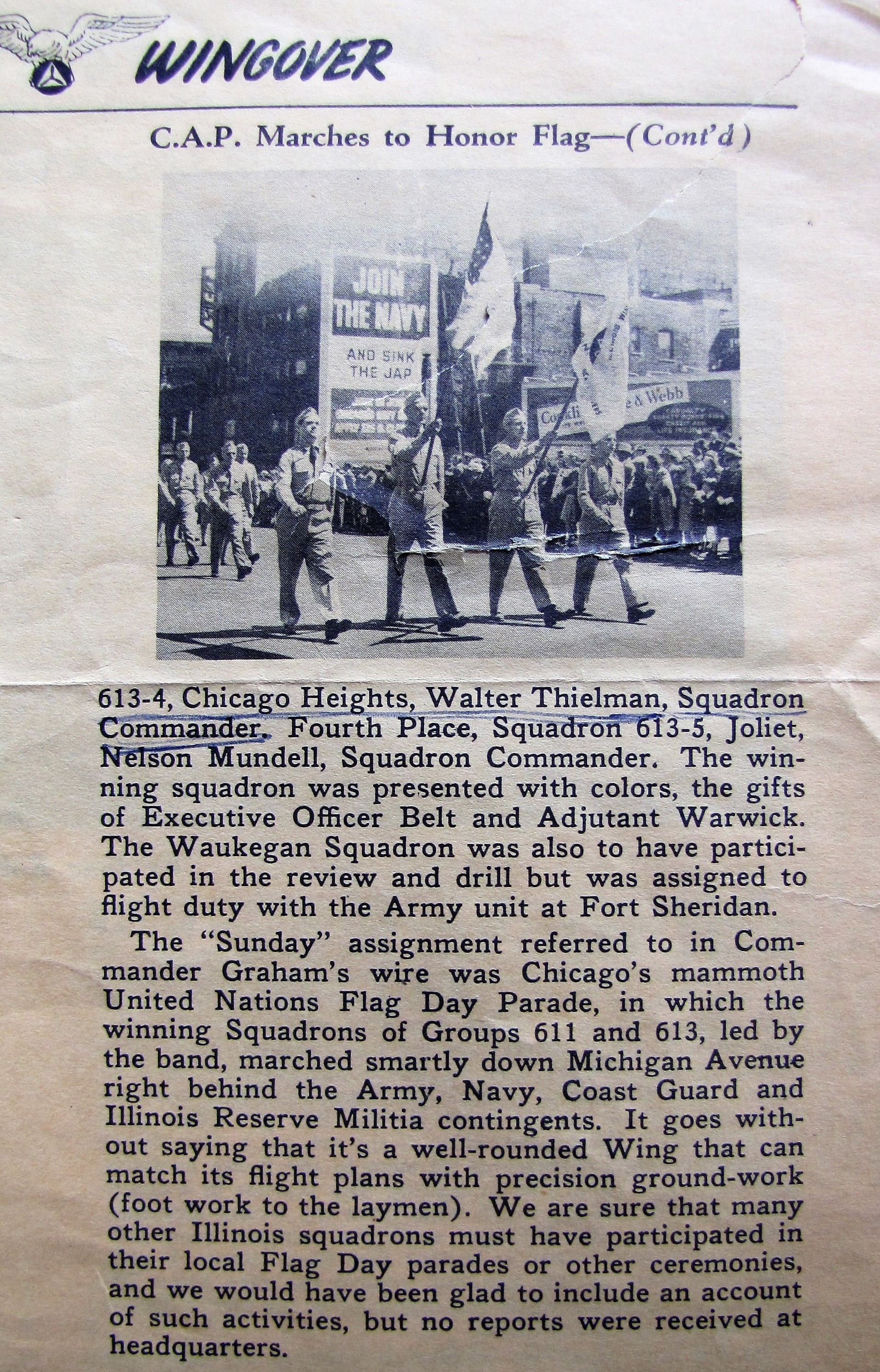 1942-7 C.A.P. Marches to Honor Flag