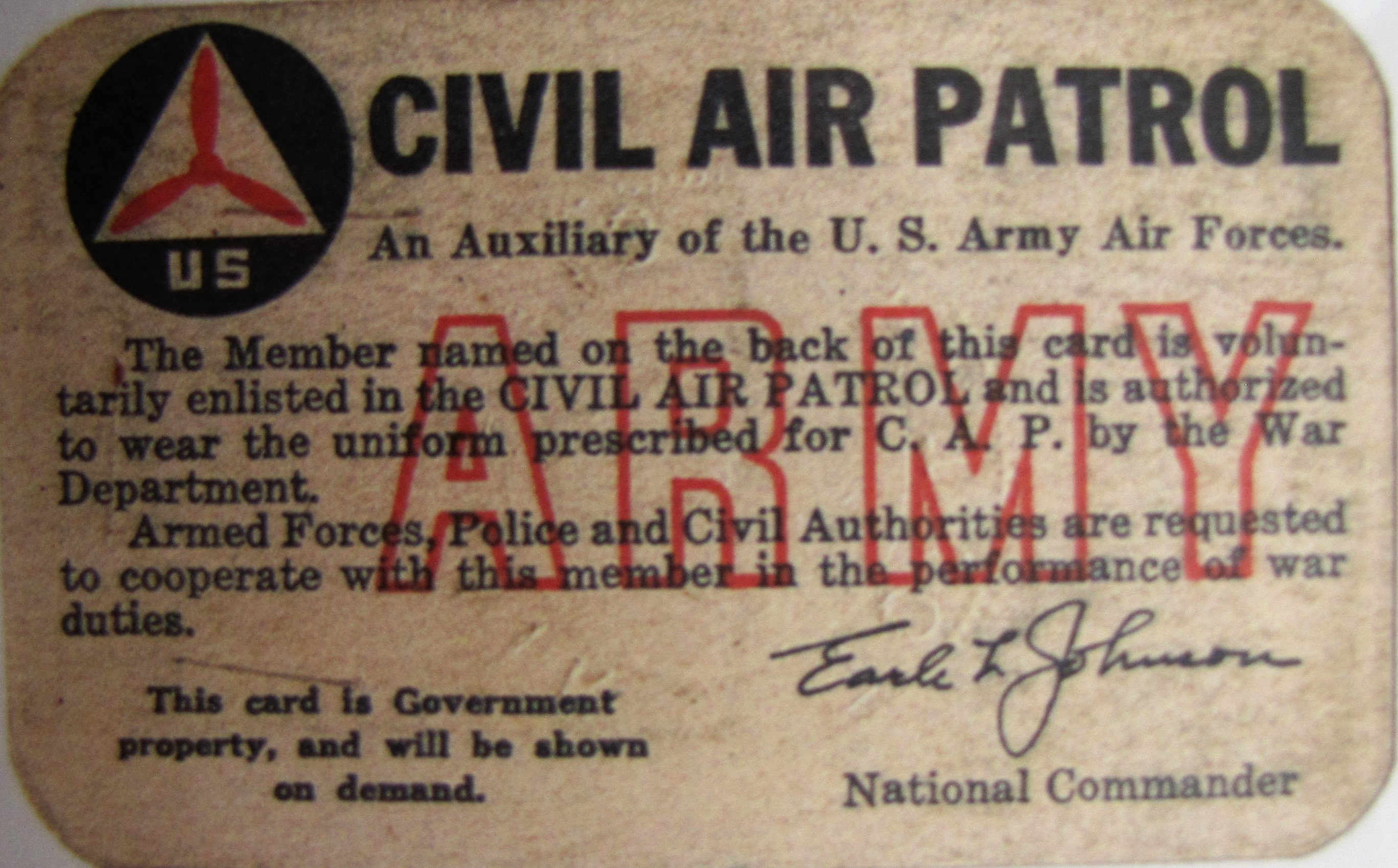Civil Air Patril Card