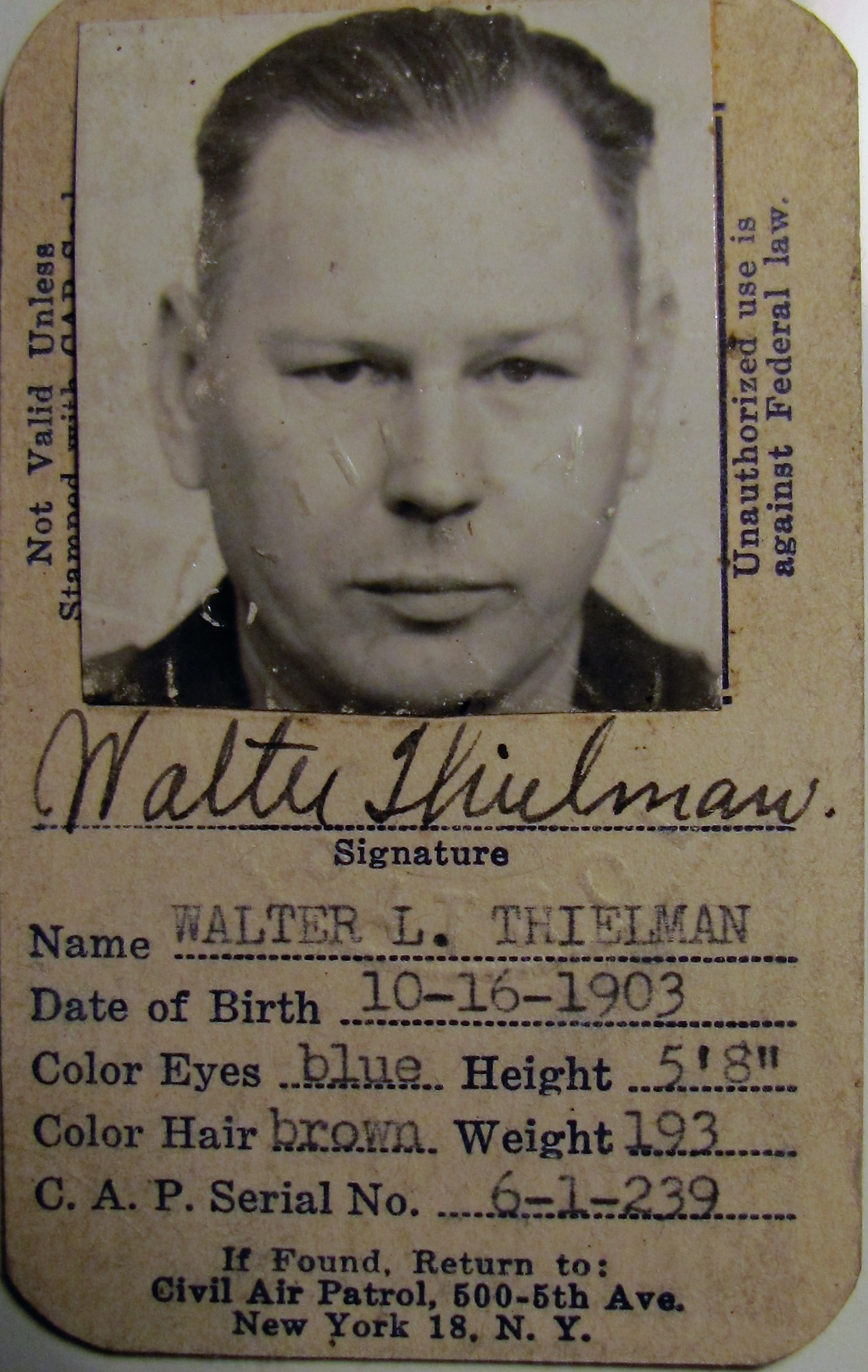 Civil Air Patrol Card, Walter Thielman