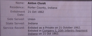 ANTON CLOIDT, CIVIL WAR SOLDIER 10-21-1862