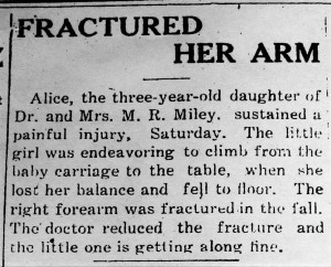 Alice Miley - Fractured her arm