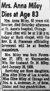 Anna Miley Death notice