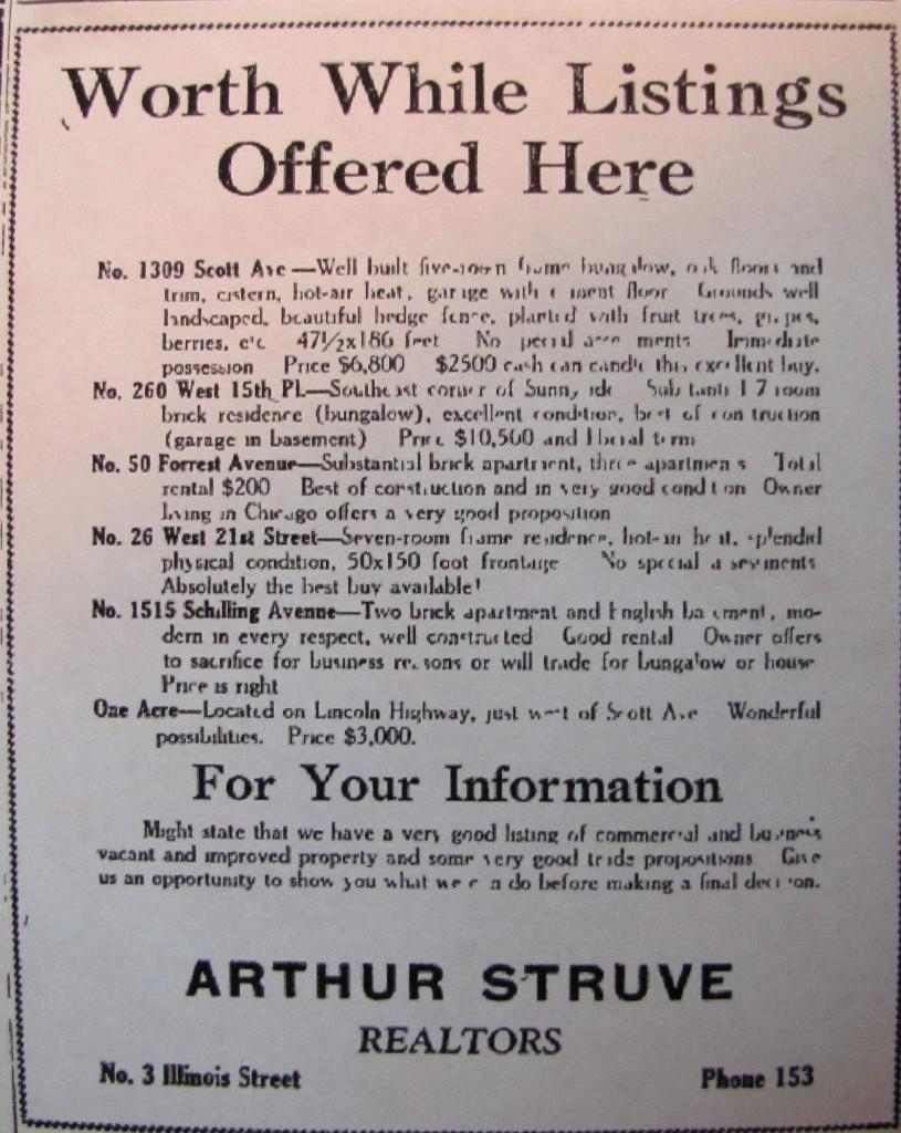 Arthur Struve ad 1927