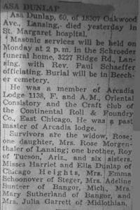 Asa Dunlap, Hammond Times 10-5-1951