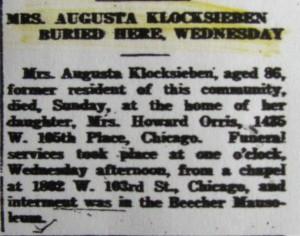 Augusta Klocksieben obit 2
