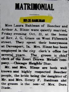 Bahlman-Hinze Matrimonial