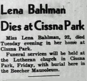Bahlman, Lena Obit 04-23-1957