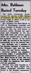 Bahlman, Minnie Obit 12-25-1960