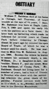 Bahlman, William Obit 02-17-1933