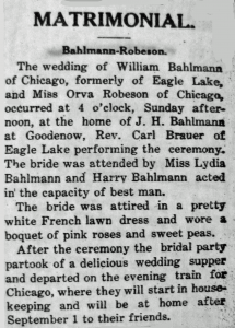 Bahlman, William & Ora Robinson Matromonal 08-09-1908
