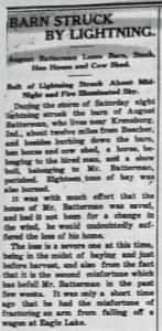 Batterman, August - Barn Struck By Lightning 6-26-1908