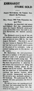 Batterman, Ehrhardt Store Sold 7-17-1914