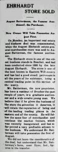 Batterman, Ehrhardt Store Sold 7-17-1914