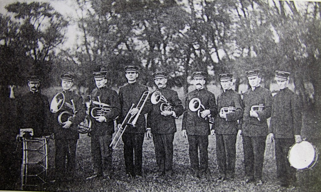 Beecher's Brass Band l to r- Fred Kegelbine, William Wehmhoefer, H.H. Wegert, William Paul, Charles Adolph, Frank Hack, Ernie Selk, Rube Wegert and Herman Matson