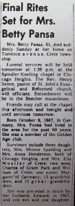 Betty Pansa obit