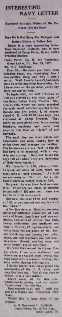 Bielfeldt, Raymond J - Interesting Navy Letter 12-27-1917