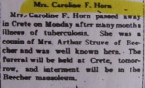 Caroline Horn death notice