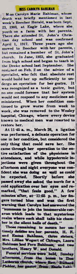 Carolyn Bahlman Obituary 4-3-1924