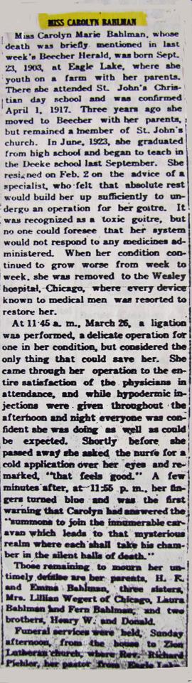 Carolyn Bahlman Obituary 4-3-1924