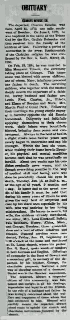 Charles (Carl) Beseke obit 1-25-1934