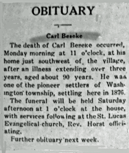 Charles W. (Carl) Beseke Death Notice