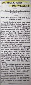 Dr Hack & Dr. Wegert 1911