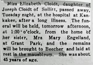 Elizabeth Cloidt 4-25-1918