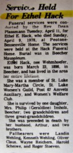 Ethel Hack Obit