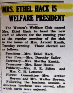Ethel Hack Welfare President