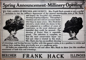 Frank Hack store advertisement 1908