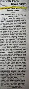 Fred Heldt Iowa visit 1911