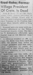 Fred Rohe death notice