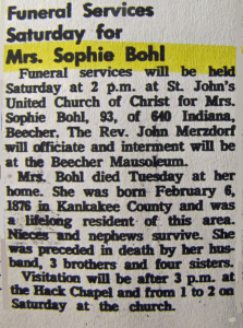 Funeral Services Saturday for Mrs. Sophie Bohl