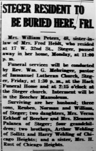 Helen Peters obit
