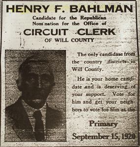 Henry F Bahlman 1920