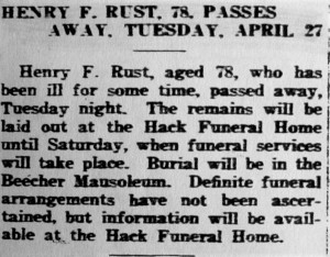 Henry F. Rust death notice