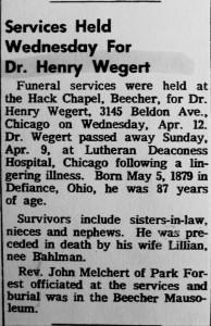 Henry Wegert obit 1