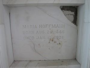 Maria Hoffman's headstone