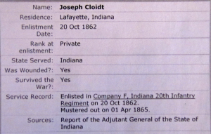 JOSEPH CLOIDT, CIVIL WAR SOLDIER 10-21-1862