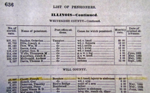 JOSEPH CLOIDT, LIST OF PENSIONERS 1-1-1883