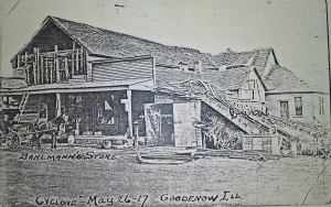 John H. Bahlmann General Store in Goodenow after a cyclone hit in 1917