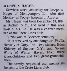 Joseph Hager obit