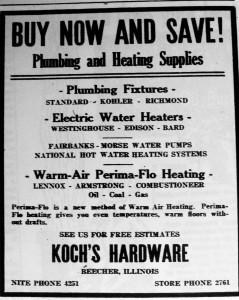 Koch Hardware store ad 1953