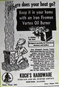Koch Hardware store ad 1954