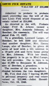 Louis Fick Estate Valued at $18,000