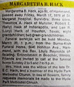 Margaretha B. Hack obit 1978