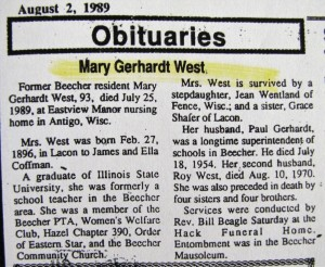 Mary Gerhardt West Obit
