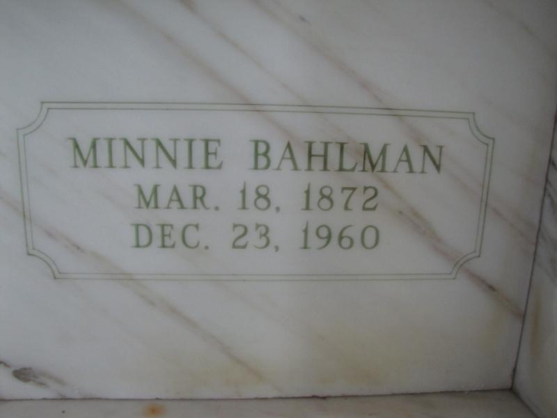 MINNIE BAHLMAN