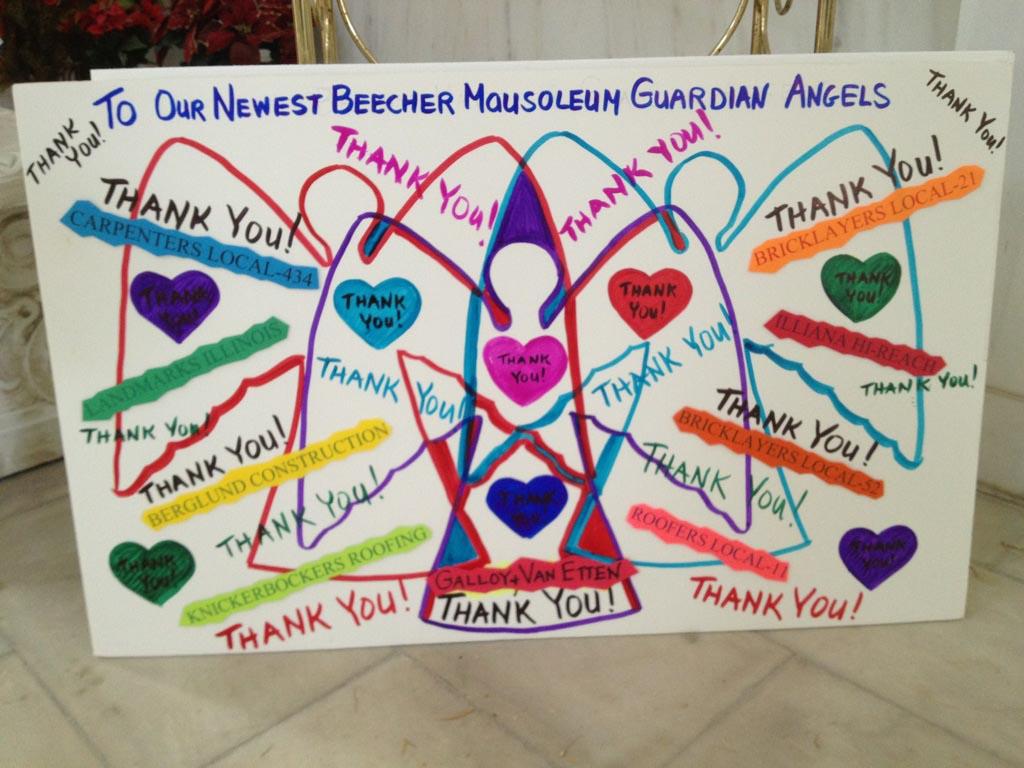 New Beecher Mausoleum Guardian Angels Thank You
