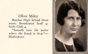 Olive Miley, Bloom High School 1930
